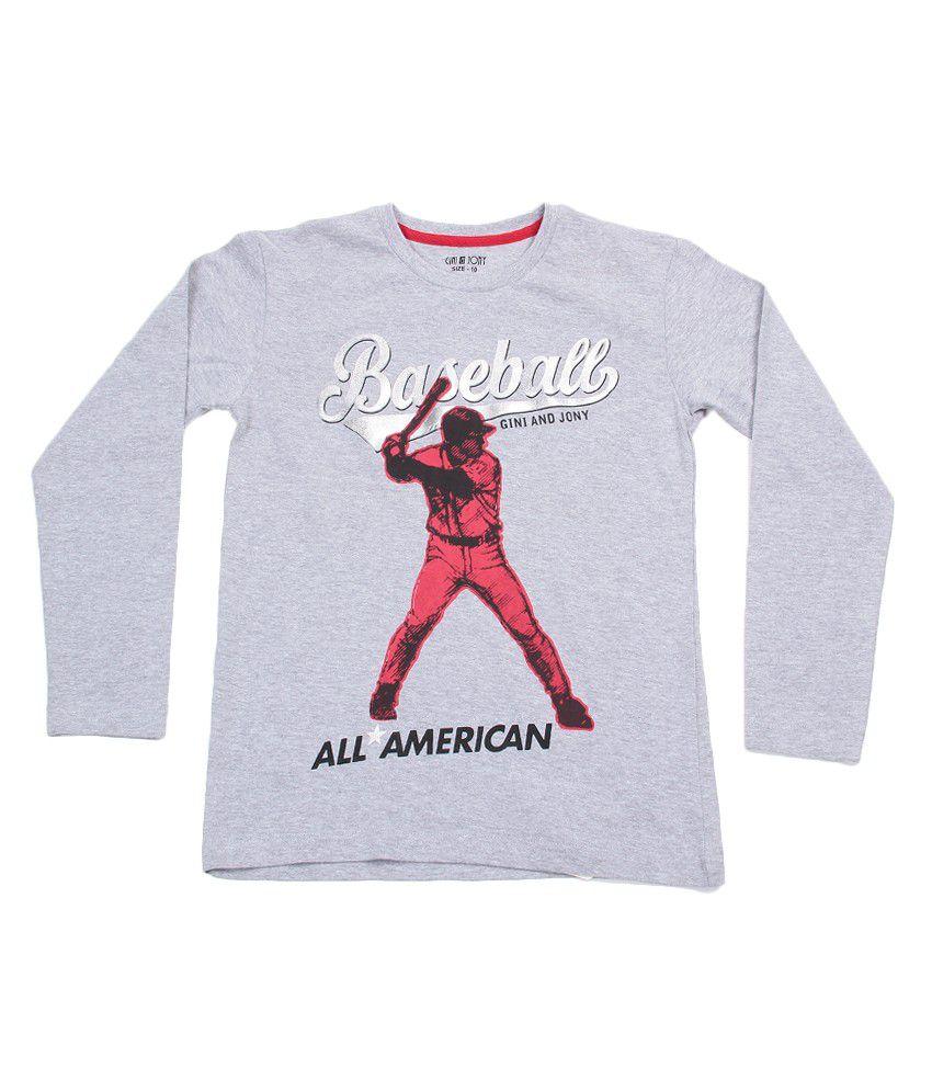 Gini & Jony Full Sleeves True Melange T-Shirt For Kids