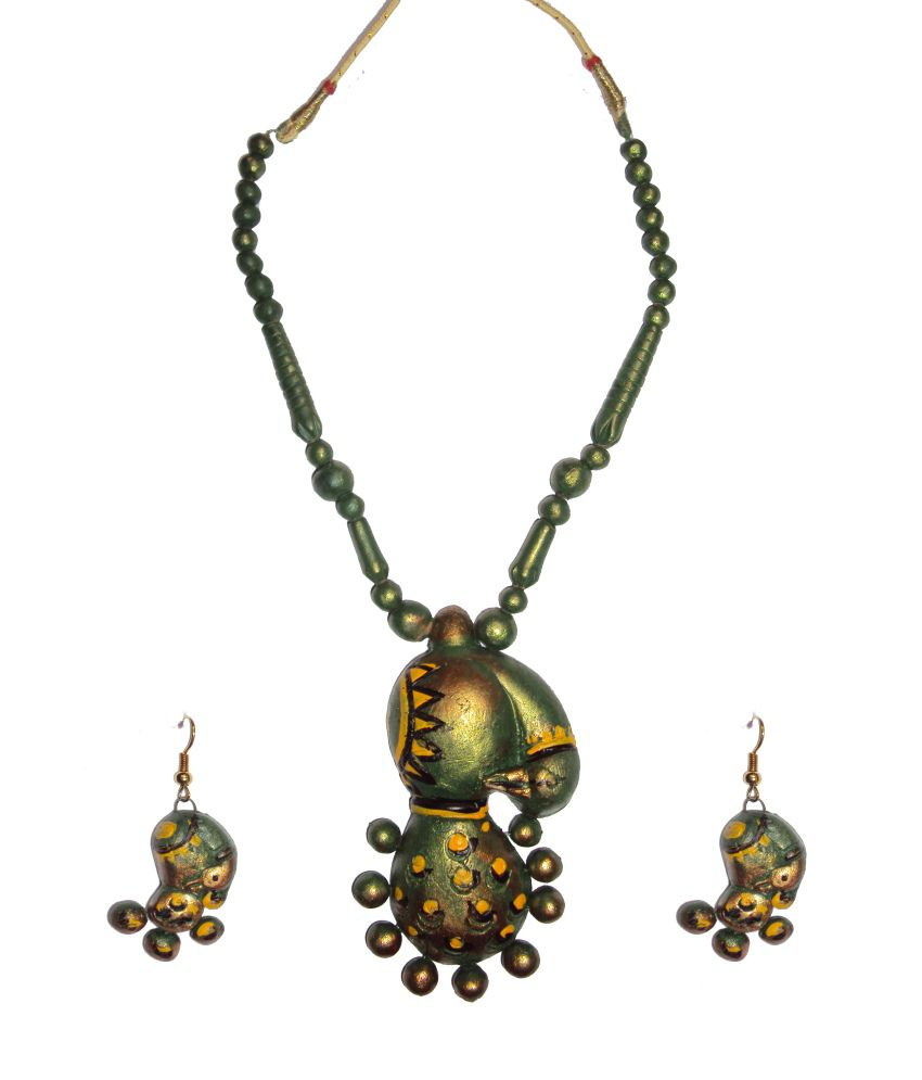 Hand Art Ethnic Traditional Style Diva Terracotta Necklace Set