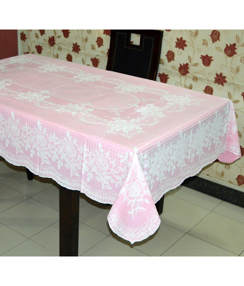 Katwa Clasic - 54 x 78 Inches (Rectangle) Rose Lace Vinyl Tablecloth (Pink)