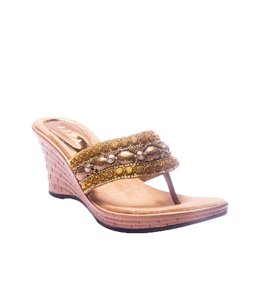 Liza Ethnic Antic Gold Heeled Slip On