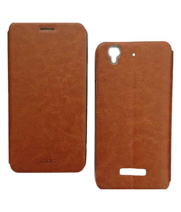 pretty nice ca4c5 ffcac Mofi Vintage Leather With Back Flip Cover Case For Micromax Yu ...