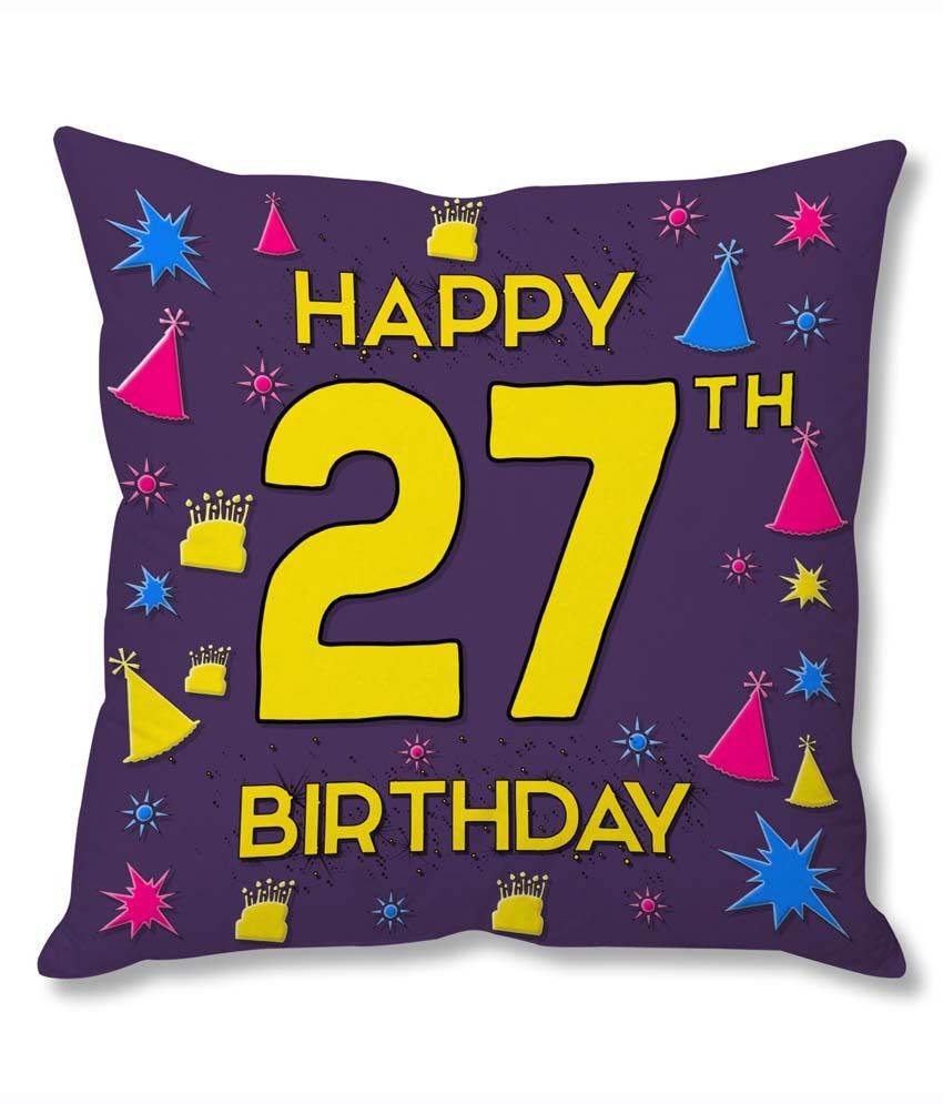 Photogiftsindia 27th Happy Birthday Cushion Cover: Buy