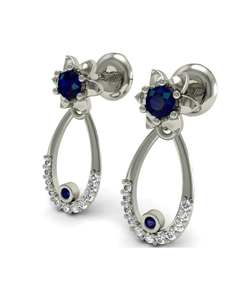Rasav Jewels 0.20 Ct Blue Sapphire Natural Si-ij Round Cut Diamond 18k White Gold Earrings