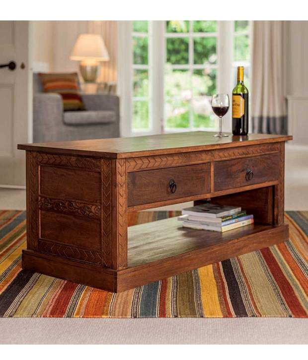 Indore Coffee Table With 6 Drawers: Lifeestyle Wooden Center/coffee Table With 4 Storage