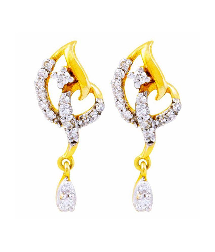 Mehrasons 0.268 Ct Diamond Earrings In 18 Kt Gold