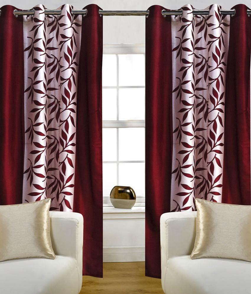 Handloom Hut Set of 2 Door Eyelet Curtains Contemporary Red