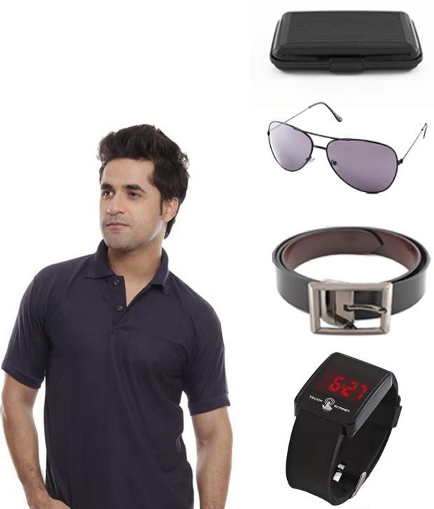 Keepsake Black T Shirt, Watch, Belt, Aviator Sunglasses And Card Holder Combo