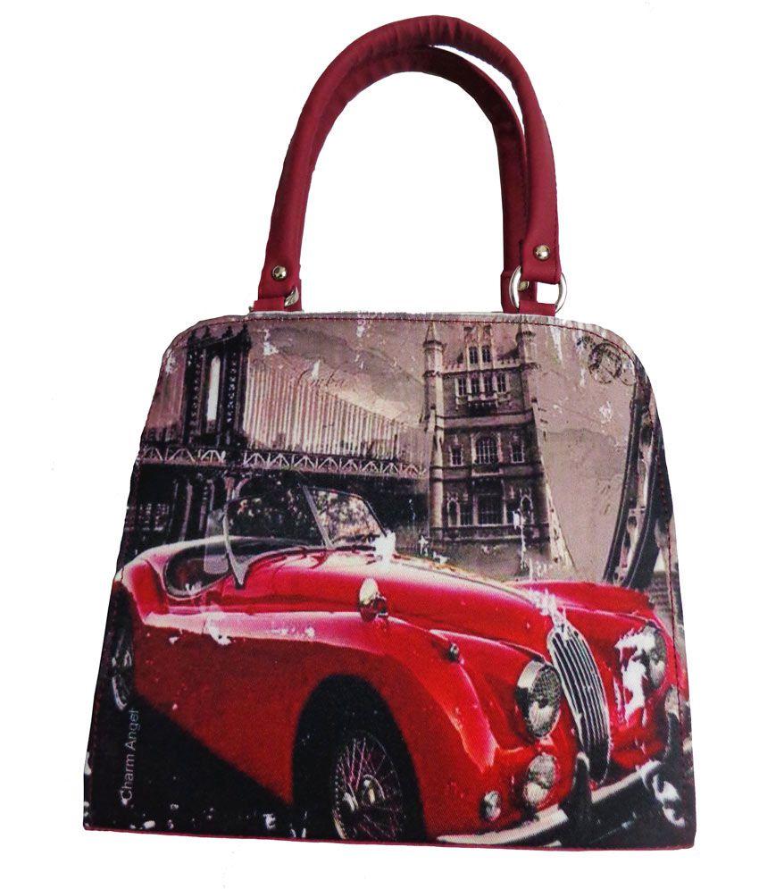 Arc Hnh Designer Three Compartment Sling Bag - Red
