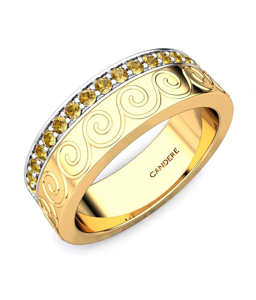 Candere Aashini Citrine Band Yellow Gold Ring