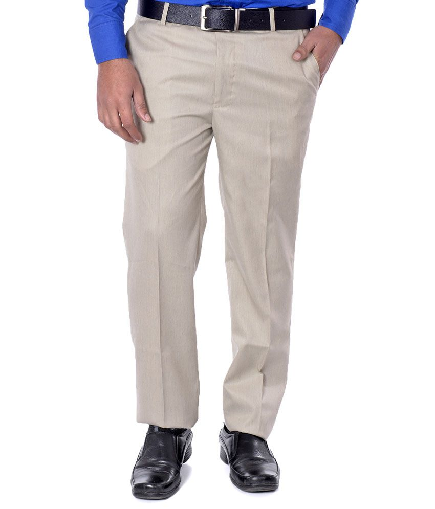 French Twins Dobby Beige Poly Viscose Men's Formal Trouser