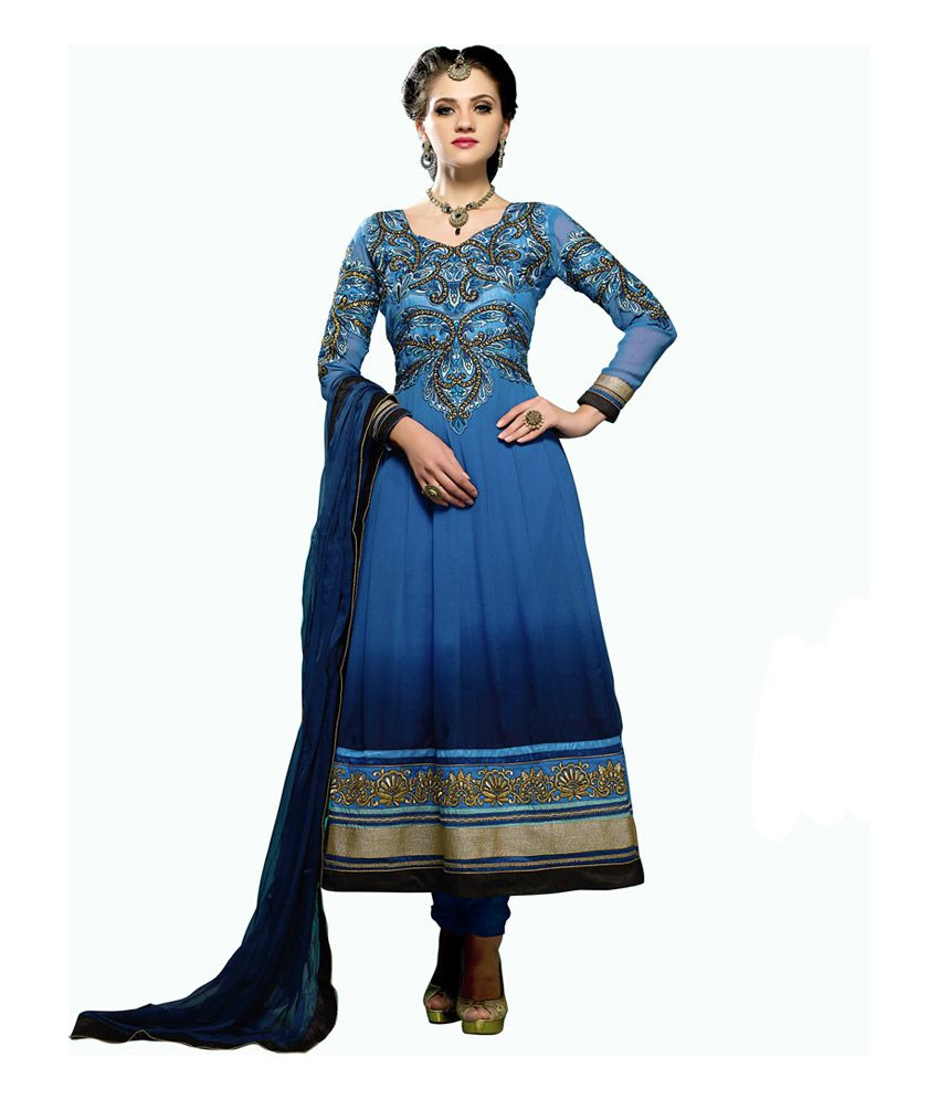 Ghunghat Fashion Blue Pure Crepe Embroidered Anarkali Semi-Stitched Dress Materials