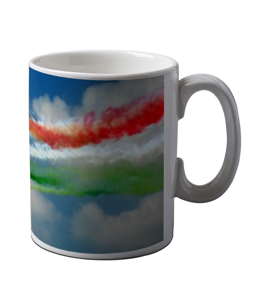 Artifa Indian Flag Made From Plane Smoke Printed Ceramic Coffee Mug
