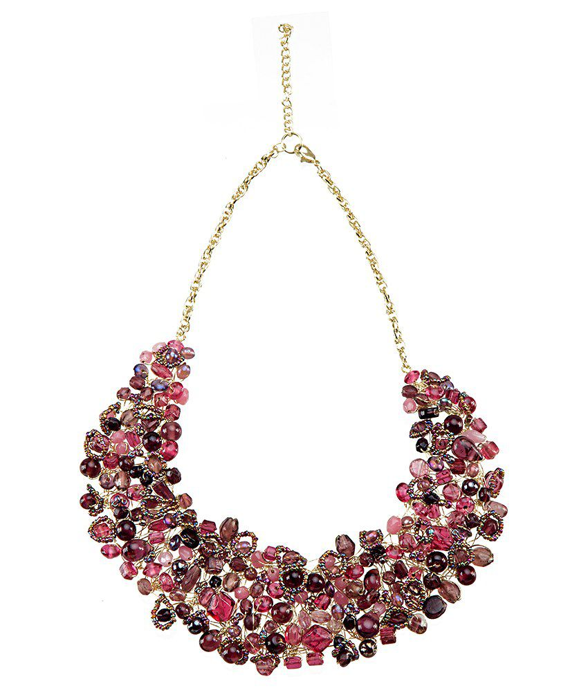 Blueberry Pink & Purple Beads Collared Cluster Necklace