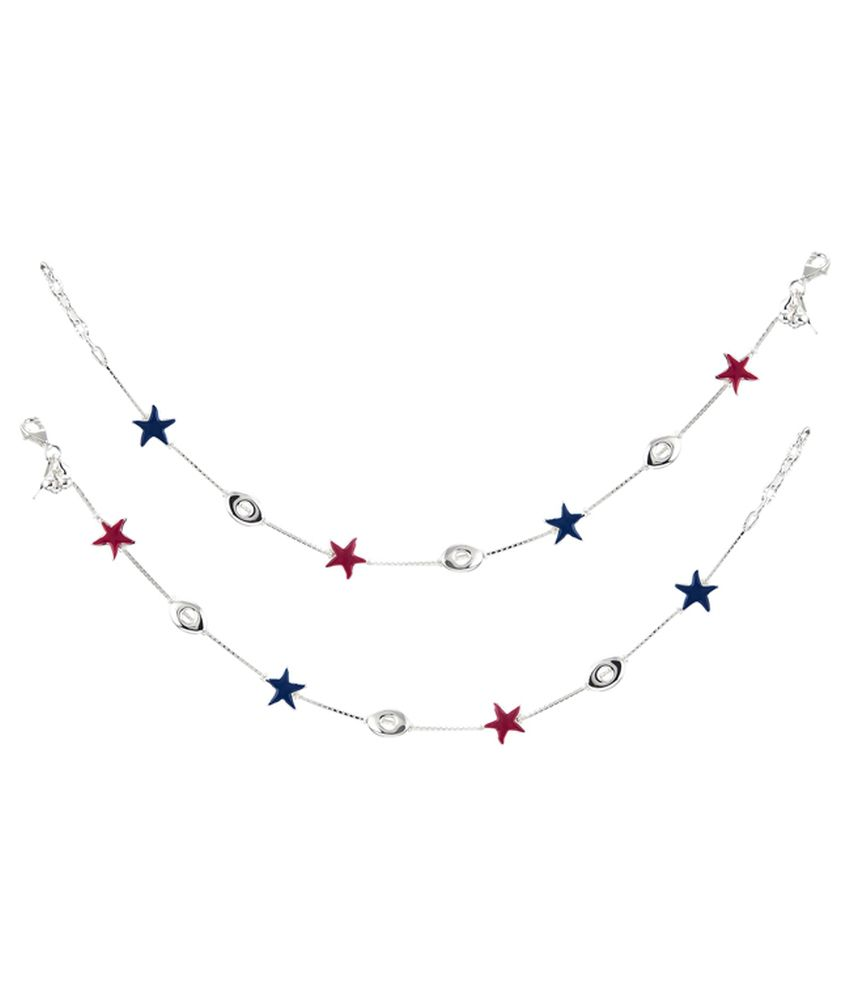 GemLN 92.5 Sterling Silver Red Blue Star Anklets
