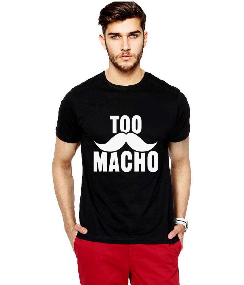 iLyk Men's  Too Macho Printed Black T-Shirt