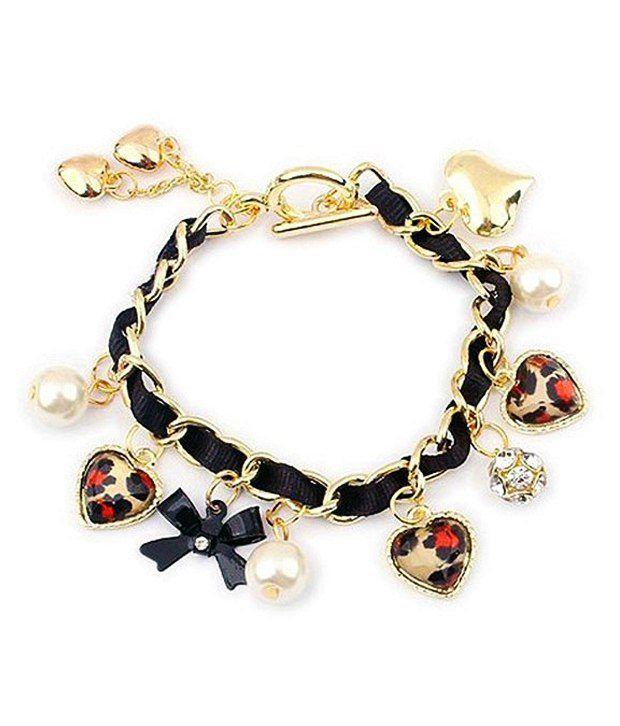 Jewel Touch Leopard Pattern Heart Charm Fashion Bracelet