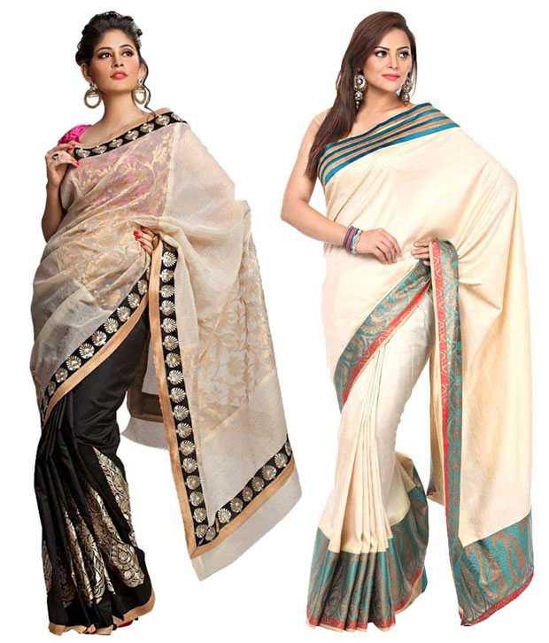 Kataan Bazaar Stylish Beige Saree Combo