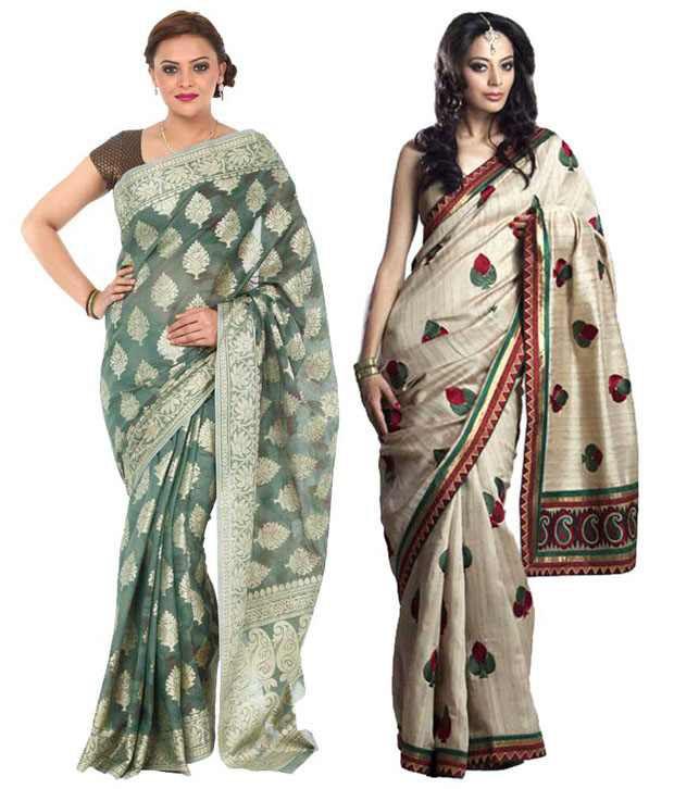 Kataan Bazaar Turquoise And Beige Sarees Combo