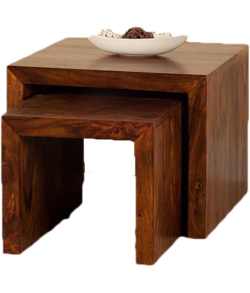 Manav Furniture Walnut Finish End & Side Tables In Brown