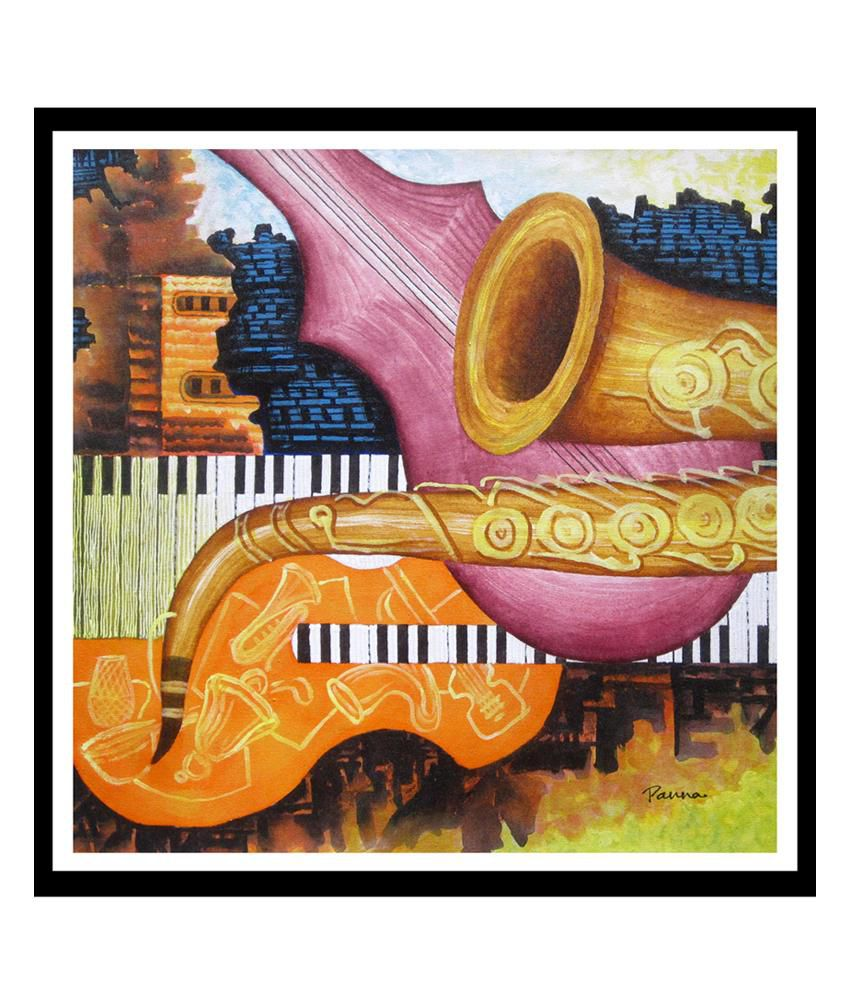 JAZZ ABSTRACT MUSIC INSTRUMENTS CANVAS WALL ART PICTURE PRINT READY TO HANG