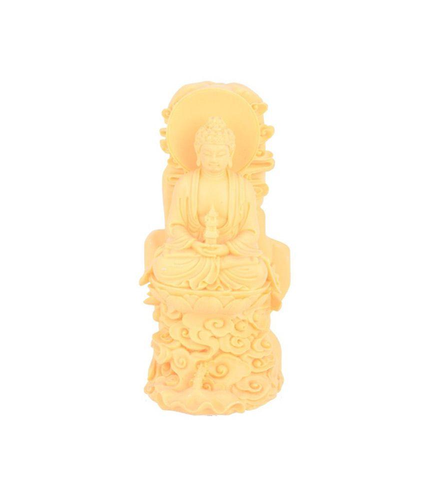 Sheela's Arts & Crafts Yellow Resin Buddha Idol