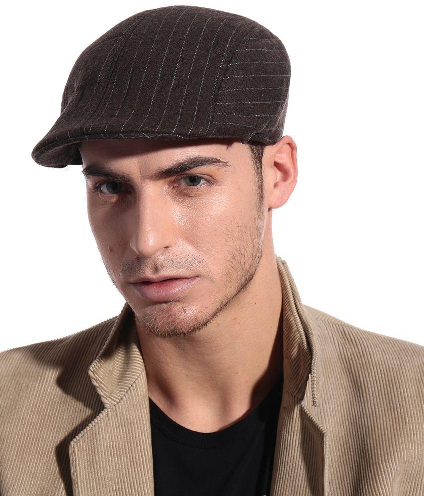 Bizarro Good Looking Brown Woollen Cap For Men