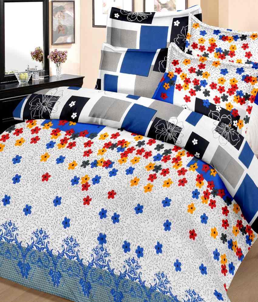 Casa copenhagen ista blue kite cotton double bedsheet with 2 pillow covers buy casa - Casa copenaghen ...