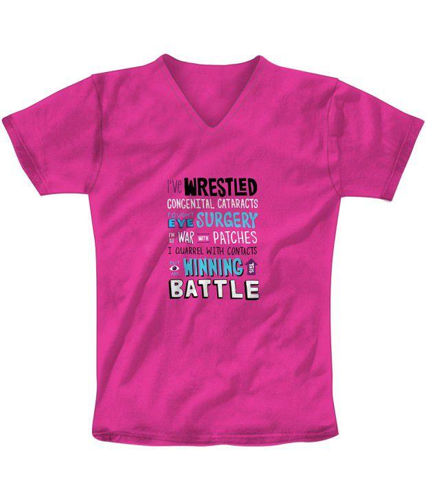 Freecultr Express Pink Cotton Blend T-shirt
