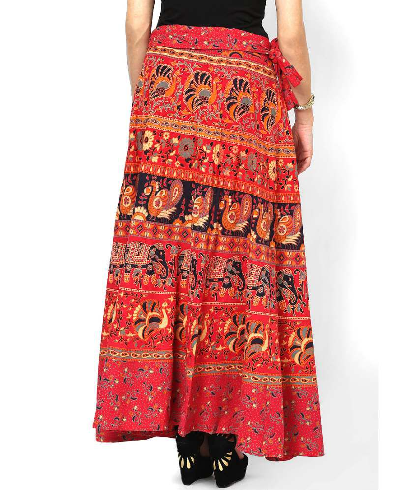 be38b86e65a Buy Rajasthani Sarees Red Cotton Skirts Online at Best Prices in ...