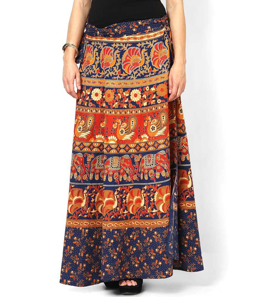 b7ea31f983 Buy Rajasthani Sarees Blue Cotton Skirts Online at Best Prices in India -  Snapdeal