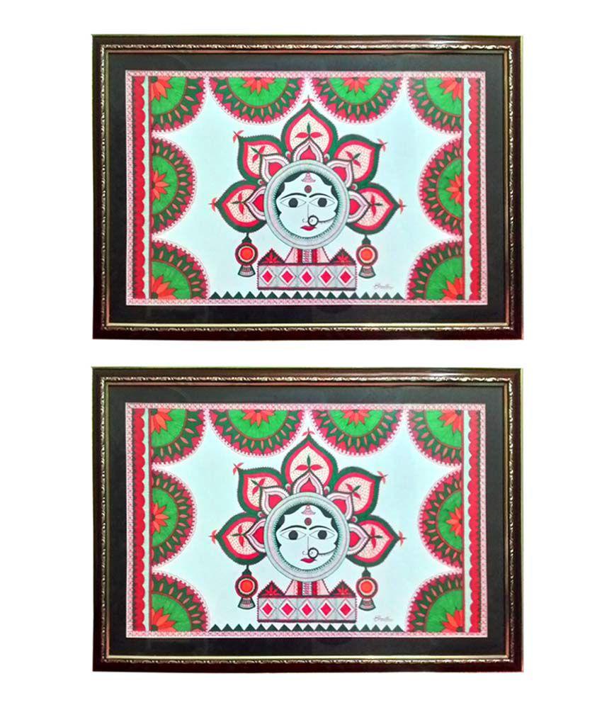 Shruti Innovative Paintings Madhubani Paintings (set Of 2)