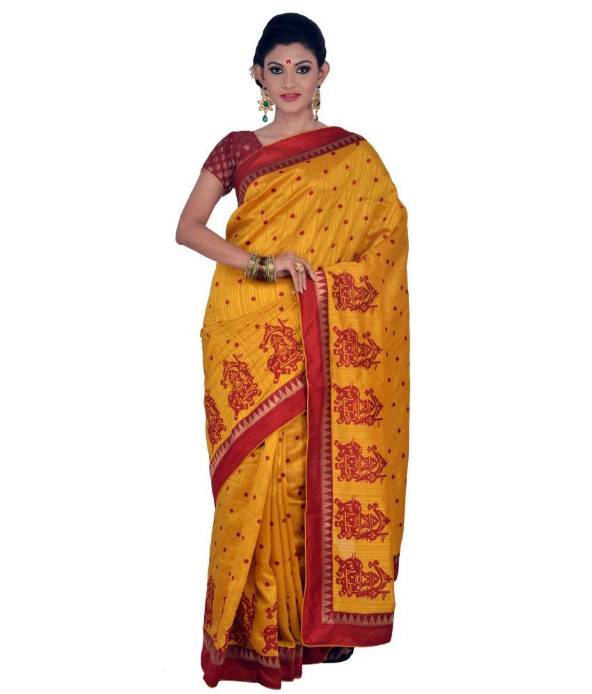 Sunita Saree Red Cotton Jute Saree