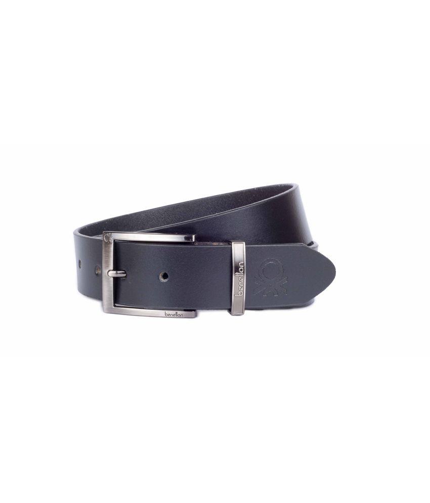 United Colors Of Benetton Men's Leatherite Stylish Belt In Black Colour