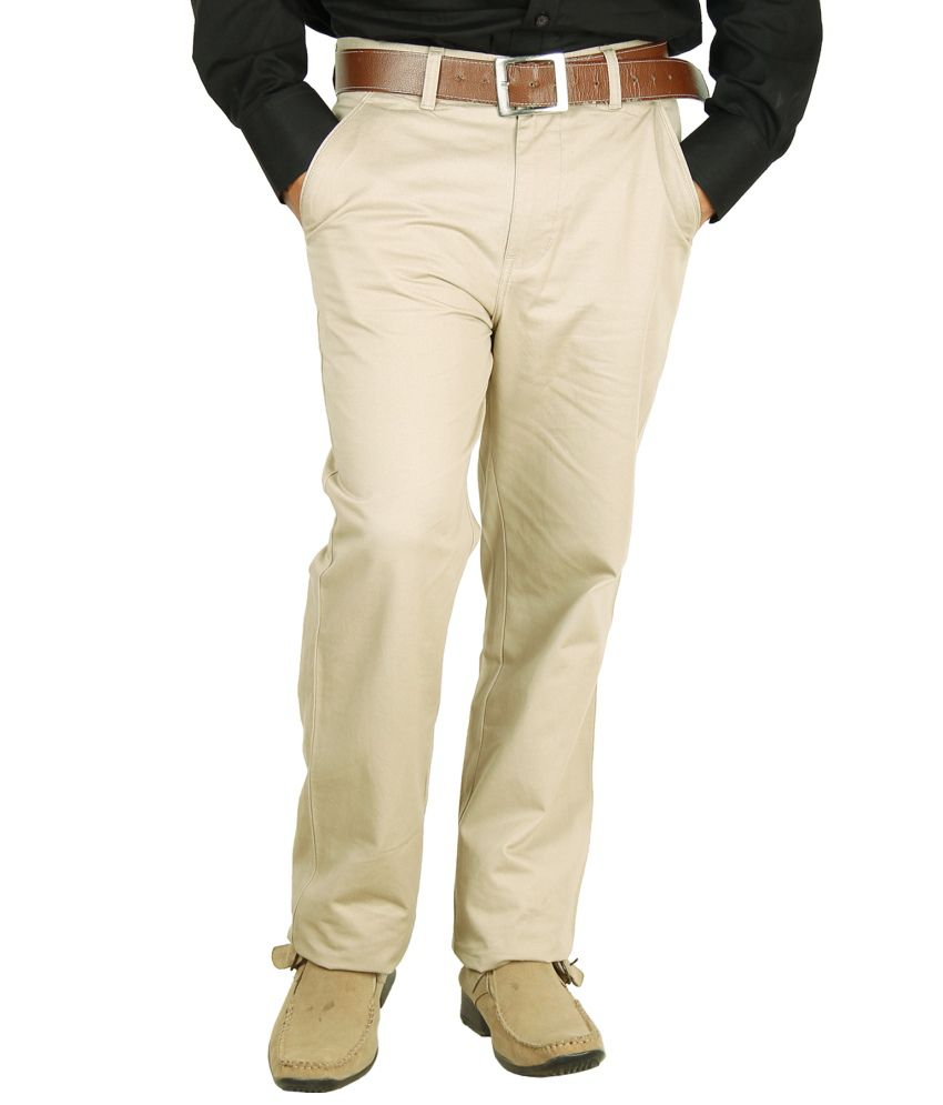 Crocks Club Tan Cotton Regular Chinos