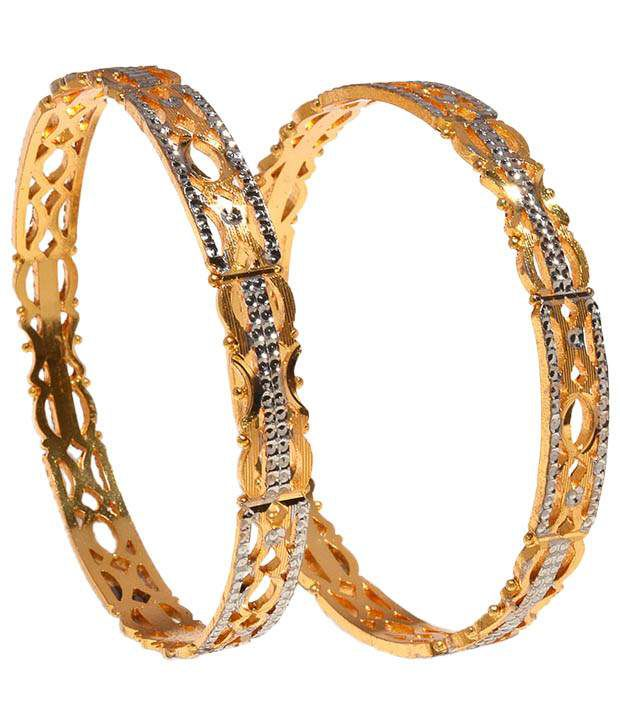 Jewar Gold Plated White Alloy Party Wear Bangle Set