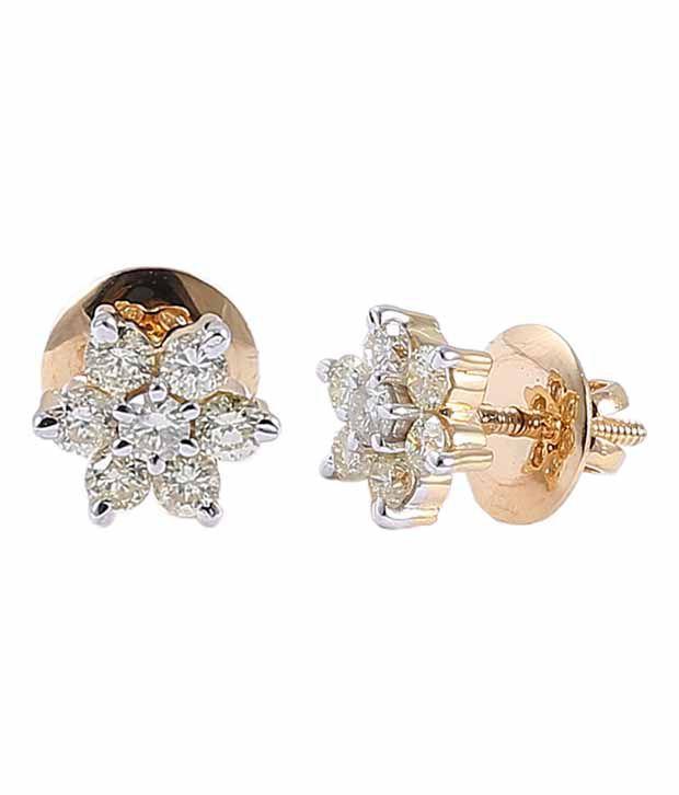 Jisha Diamond Stud Earrings In 18kt Hallmark - Gold