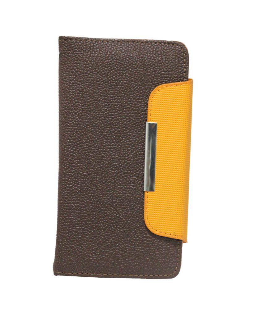 Jo Jo Z Series Magnetic Flip Cover For Oneplus One - Dark Brown & Orange