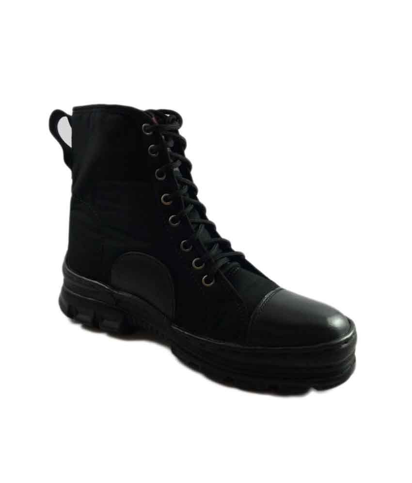 Military Shoes Black Lace Daily Wear Men's Boot