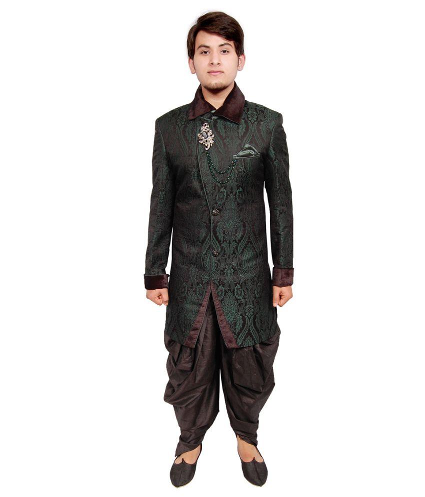 Men.xs Green Indo Western Sherwani - Buy Men.xs Green Indo Western Sherwani Online at Low Price ...