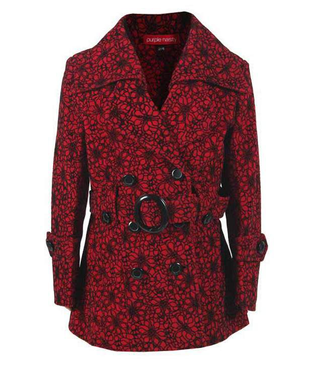 Purple Nasty Red Woollen Coat