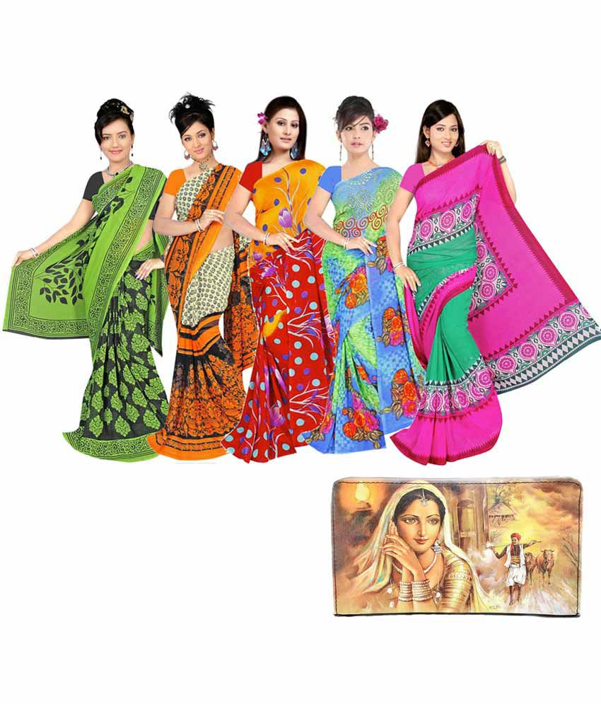 Anuja Sarees Multicolour Printed Faux Georgette Sarees -pack Of 5 With 1 Printed Clutch