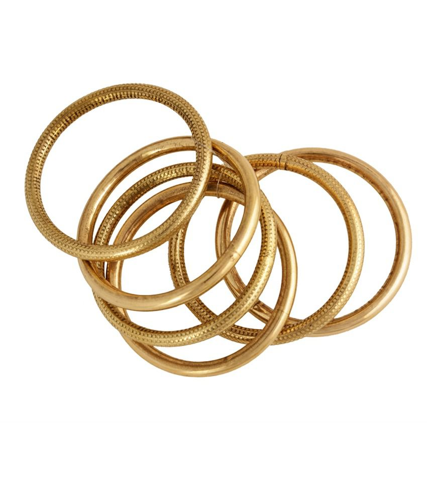 Gold & More Antique Gold Polish Bangles (set Of 6)