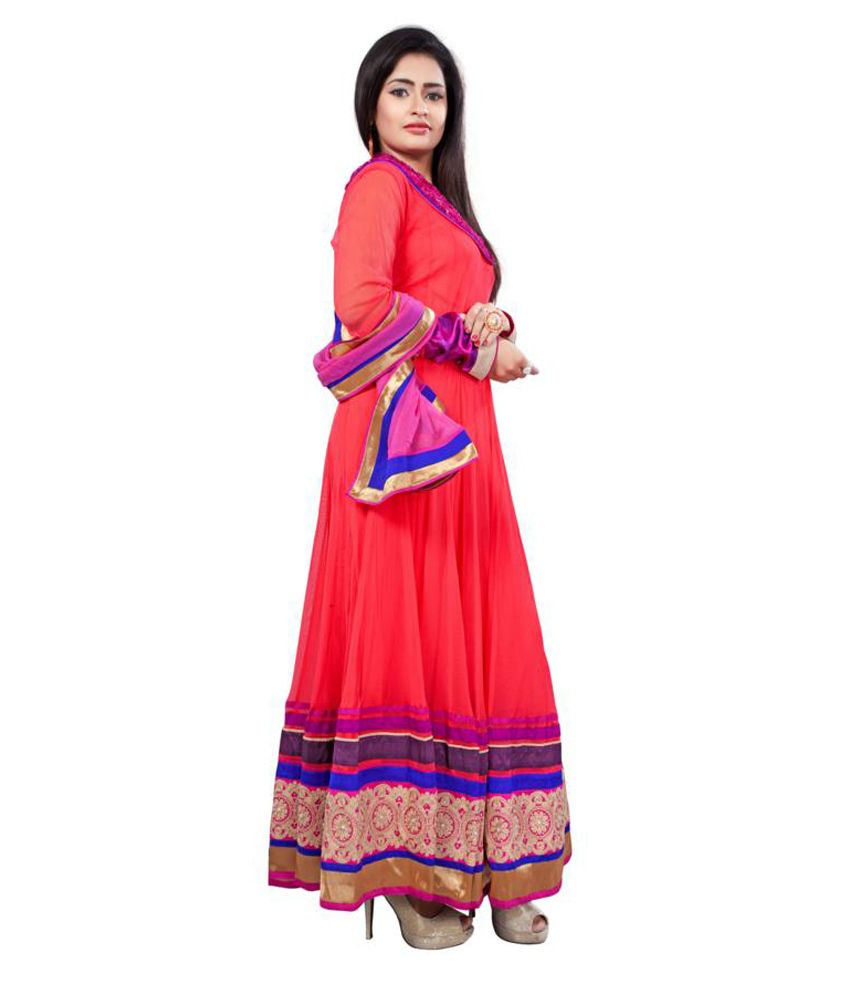 Manvaa Faux Georgette Embroidered Anarkali Suit