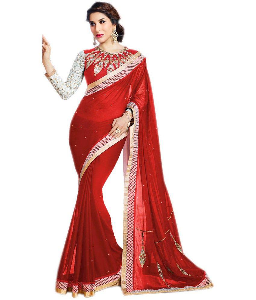Queen's Red Georgette Saree