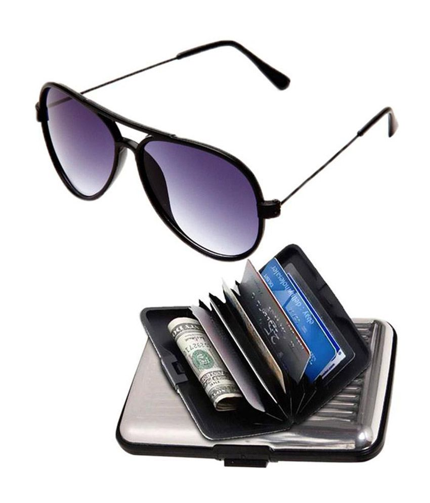 Selfieseven Combo of Sunglasses & Silver Card Holder