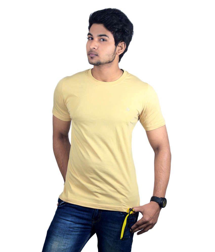 Spur Beige Cotton Round Neck Basic T-shirt