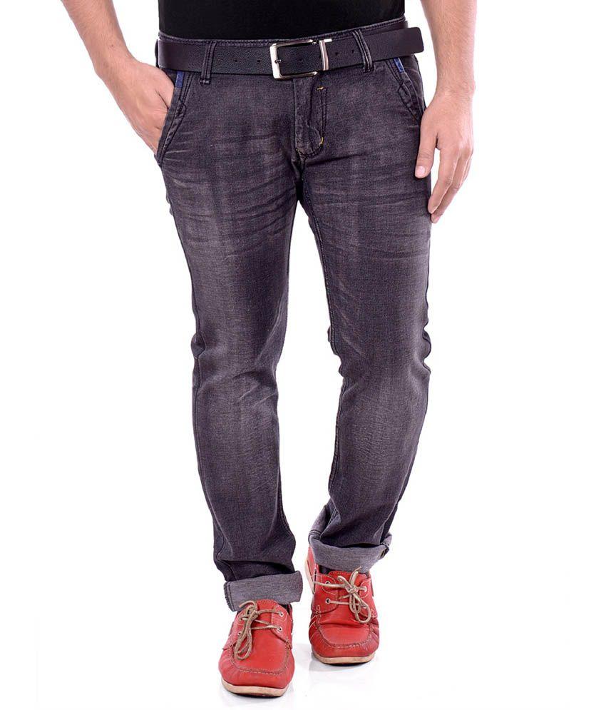 Unison Black Cotton Blend Slim Fit Jeans For Men