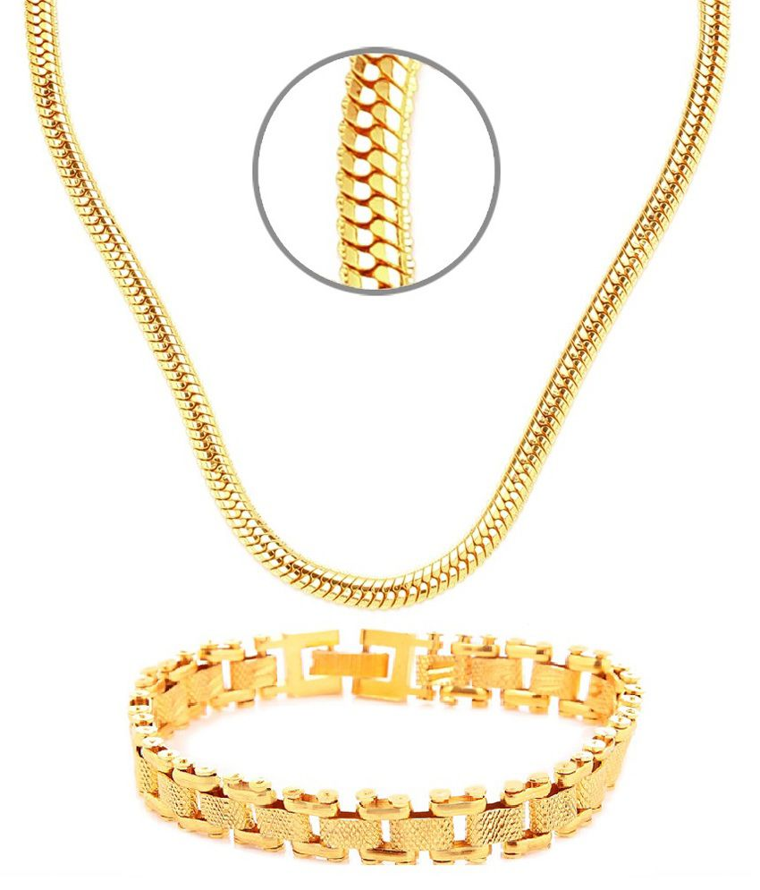 Gold Plated Thick Men's Chain And Bracelet Combo By Goldnera