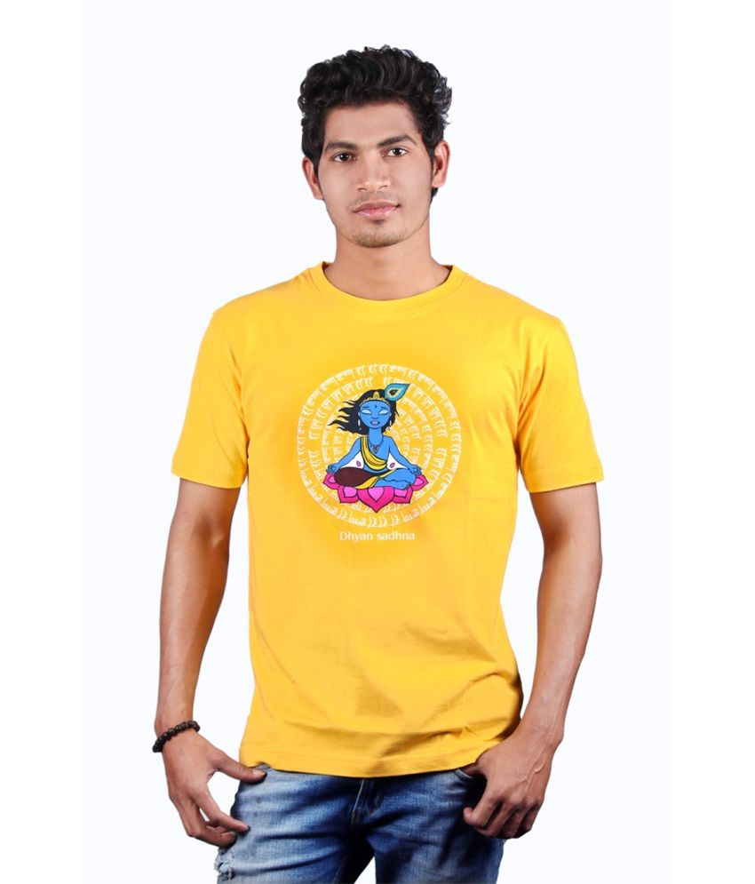 Omkar Arts Yellow Cotton Round Neck Basics T-shirt For Men's