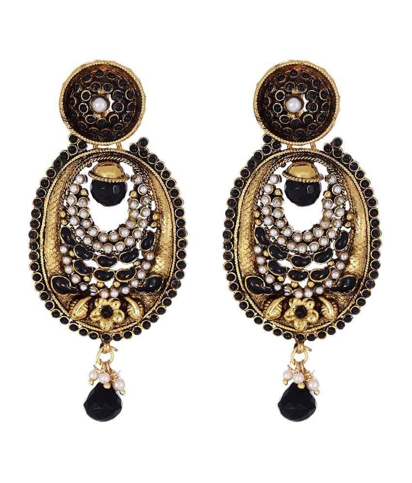 Shahenaz Black Copper Gold Plated Ethnic Designer Earrings